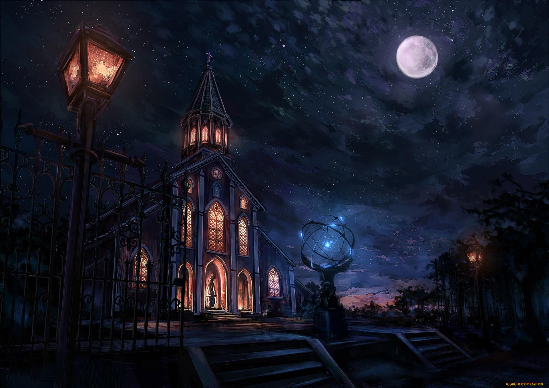 Церковь аниме картинки